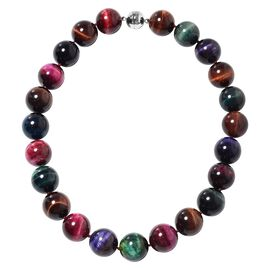 Limited Edition - Rare Size Multi Colour Tiger Eye (Rnd 19-21 mm) Necklace (Size 20) in Sterling Sil
