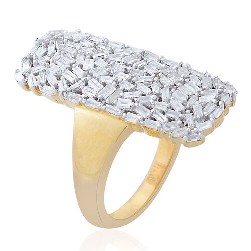 Designer Inspired - Firecracker Diamond (Bgt) Ring in 14K Gold Overlay Sterling Silver 1.000 Ct., Silver wt 5.96 Gms.
