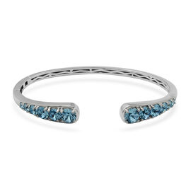 J Francis Swarovski Aquamarine Colour Crystal Cuff Bangle in Platinum Plated 7.5 Inch