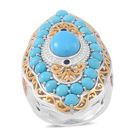 Arizona Sleeping Beauty Turquoise (Ovl 2.70 Ct), Kanchanaburi Blue Sapphire Ring in Rhodium Plated S