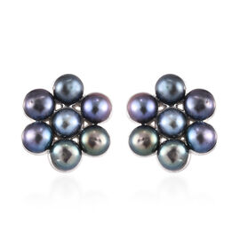 Freshwater Peacock Pearl Floral Stud Earrings in Sterling Silver with Push Back