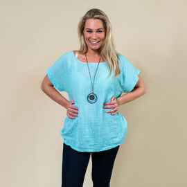 TAMSY High Low Scoop Neck Linen Top With 30 Inch Necklace (Fits Size 8-16) - Mint Blue