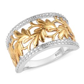 Diamond Oak Leaf Ring in Platinum and Yellow Gold Plated Sterling Silver