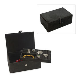 2-Tier Black Hair-on Natural Leather Jewellery Box with Magnetic Flap Closure and Velvet Lining (Siz