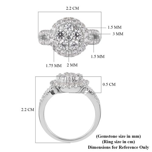 J Francis Platinum Overlay Sterling Silver Ring Made with SWAROVSKI ZIRCONIA 2.39 Ct.