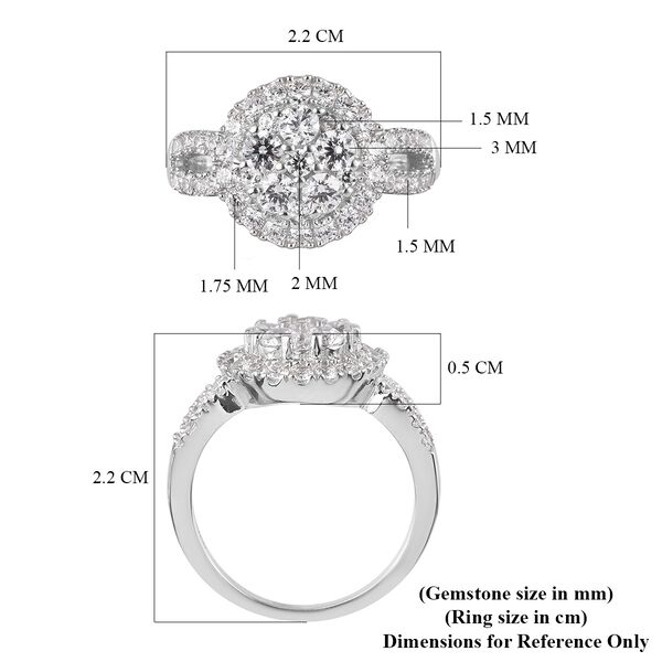J Francis Platinum Overlay Sterling Silver Ring Made with SWAROVSKI ZARCONIA 2.40 Ct.