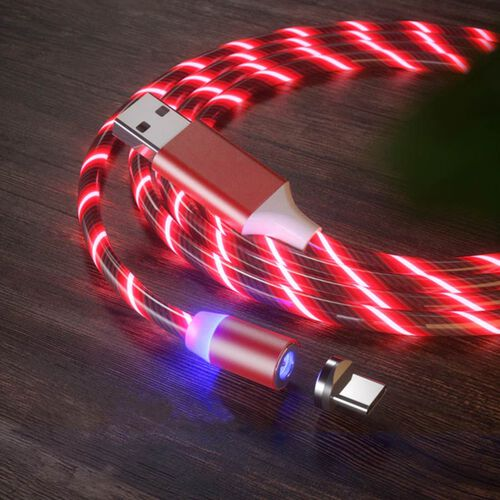 Set of 2 - USB Cable with 3 Magnetic Tips (Charger, Type-C and Micro USB) and Flowing LED Lights - Red