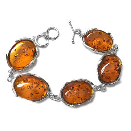 Signature Collection- Baltic Amber (Ovl 24.50x18mm) Bracelet (Size 8.5) with Toggle Lock in Sterling Silver 40.000 Ct., Silver wt 12.50 Gms.