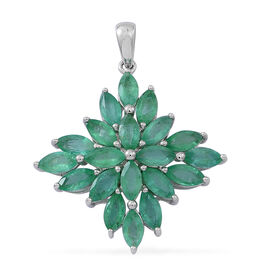 4.5 Ct Kagem Zambian Emerald Cluster Pendant in 9K White Gold 2.3 Grams