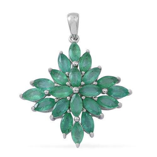 Designer Inspired 9K W Gold Kagem Zambian Emerald (Mrq) Cluster Pendant 4.500 Ct.
