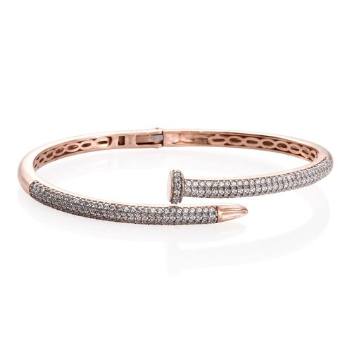 J Francis - Signature Collection Rose Gold Overlay Sterling Silver (Rnd) Nail Bangle (Size 7.5) Made