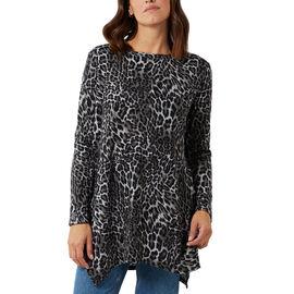 Nova of London Leopard Print Crew Neck Tunic (Size 8 to 18) - Black