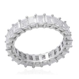 ELANZA Simulated Diamond Full Eternity Band Ring in Rhodium Plated Sterling Silver