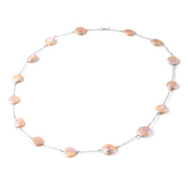 Multi Colour Baroque Pearl Necklace (Size 30) in Rhodium Overlay Sterling Silver