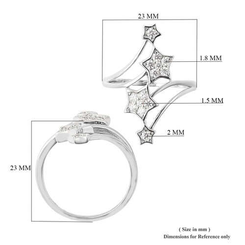 J Francis - Rhodium Overlay Sterling Silver Shooting Star Ring Made with SWAROVSKI ZIRCONIA