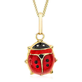 9K Yellow Gold Enamelled Ladybird Pendant