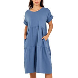 Nova of London Tiered Oversized Smock Midi Dress in Denim Blue (Size up to 20)