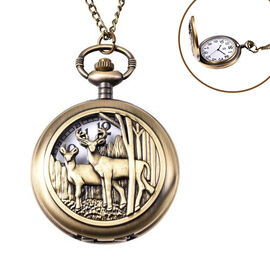 STRADA Japanese Movement Deer Couple Pattern Pocket Watch with Chain (Size 31) in Antique Bronze Ton