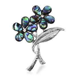 Abalone Shell and Hematite Colour Austrian Crystal Floral Brooch in Silver Tone
