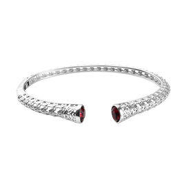 J Francis Ruby Colour Crystal from Swarovski Cuff Bangle in Platinum Plated 7.5 Inch