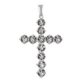 J Francis - Crystal from Swarovski White Crystal (Rnd) Cross Pendant in Sterling Silver