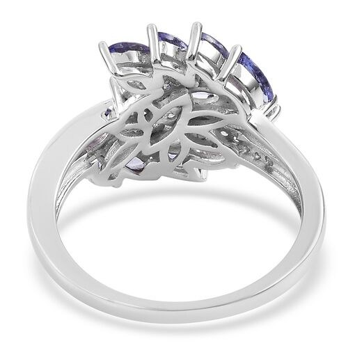 Tanzanite (Mrq), Natural White Cambodian Zircon Leaf Ring in Platinum Overlay Sterling Silver Ring 2.320 Ct.
