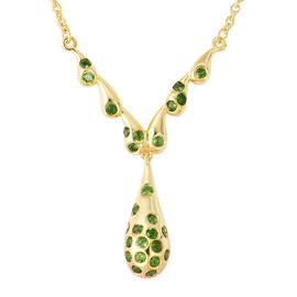 LucyQ 1.18 Ct Russian Diopside Drip Y Necklace in Gold Plated Sterling Silver 11.70 Grams 20 Inch