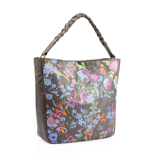 100% Genuine Leather RFID Blocker Light Grey, Blue and Multi Colour Floral Pattern Bag with Braided Shoulder Strap (Size 40X36X32X10 Cm)