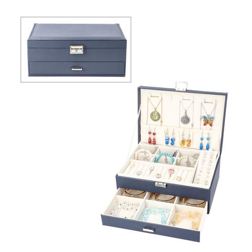 Two-Layer Navy Jewellery Box with Multiple Compartments and Lock & Key (Size 27x19x10.5cm)