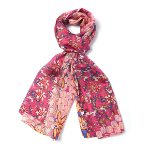 LA MAREY 100% Mulberry Silk Floral Vine Pattern Scarf (Size 180x110Cm) - Red and Orange