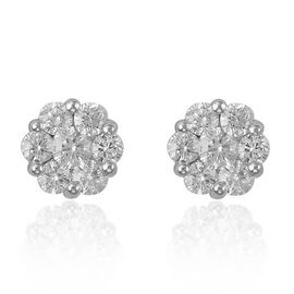 RHAPSODY 1 Carat Diamond Cluster Stud Earrings in 950 Platinum 1.9 Grams With Screw Back IGI Certifi