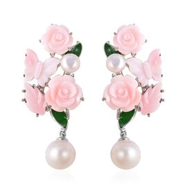 Jardin Collection - Pink Mother of Pearl and Freshwater Pearl Enameled Earrings (with Clasp) in Rhod