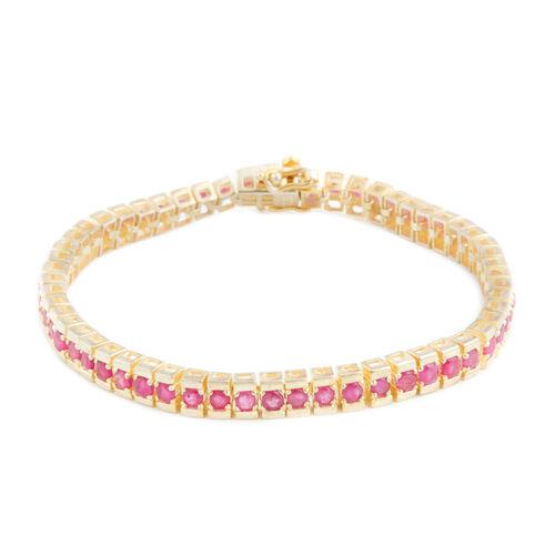 Burmese Ruby (Rnd) Bracelet (Size 7.5) in 14K Gold Overlay Sterling Silver 8.000 Ct.