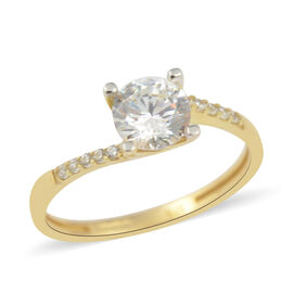 AAAA Cubic Zirconia Solitaire Ring in 9K Yellow Gold
