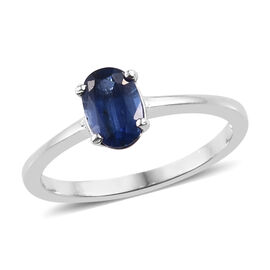 Kashmir Blue Kyanite (Ovl) Solitaire Ring in Platinum Overlay Sterling Silver 1.050 Ct.