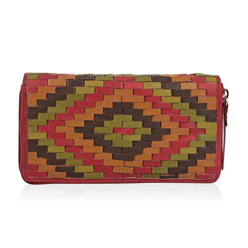 CLOSE OUT DEAL Hand Woven Genuine Leather Zip Up Burgundy and Multi RFID Blocking Clutch Wallet (19x10x2.5cm)