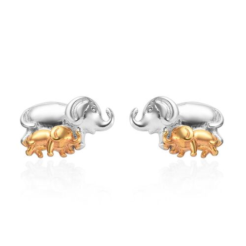 Mother and Baby Elephant Earrings in Platinum and Yellow Gold Overlay Sterling Silver (with Push Bac