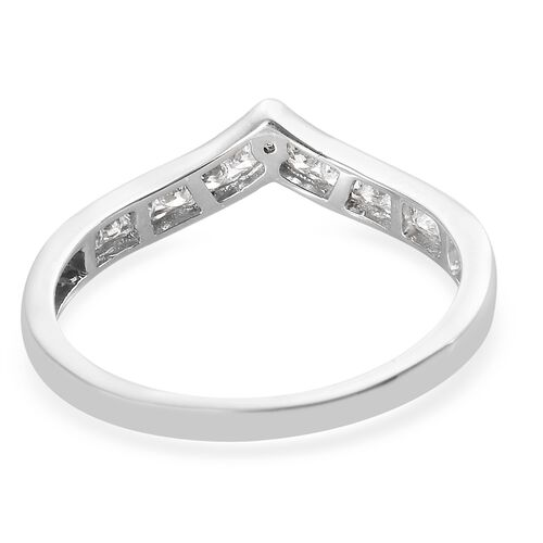 J Francis - Platinum Overlay Sterling Silver (Rnd) Wish Bone Ring Made with SWAROVSKI ZIRCONIA