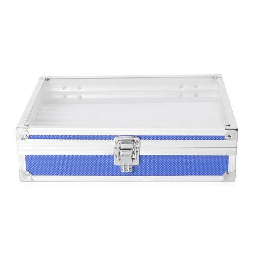 Aluminium 8 Slot Watch Box (Size 21.5x20x8 Cm) - Blue