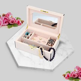 Wooden Jewellery Box with Lacquer Coating, Key Lock, Inside Mirror, 4 Small Section + Ring Rows + Wa