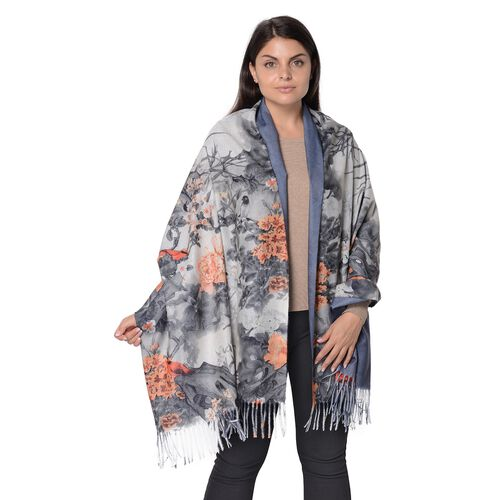 Reversible Digital Printed Peony Pattern Scarf with Tassel (Size 70x180 Cm) - Grey and Orange