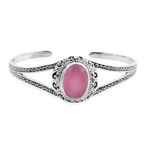 Royal Bali Collection - Pink Jade Cuff Bangle (Size 7.5) in Sterling Silver 18.87 Ct, Silver wt 21.5