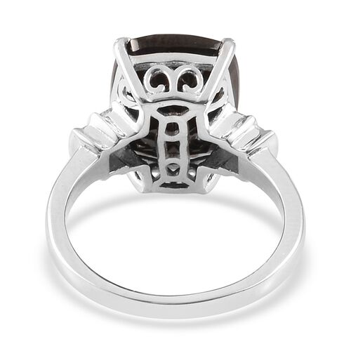 Elite Shungite (Cush), Diamond Ring in Platinum Overlay Sterling Silver 3.50 Ct.