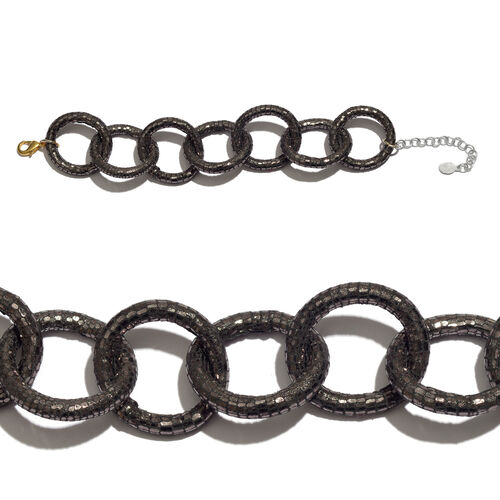 Circle Link Leather Bracelet (Size 9) in Silver and Gold Tone