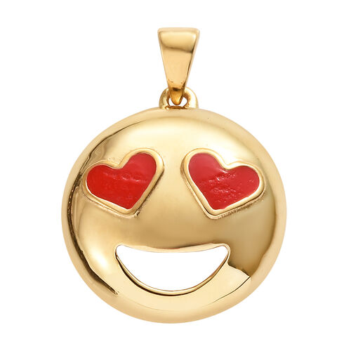 Smiling Face with Heart-Eyes Smiley Silver Pendant in Gold Overlay
