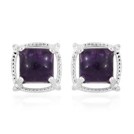 Epic Day Deal- African Amethyst (Sqr 7x7 mm) Stud Earrings (with Push Back) in Sterling Silver 6.500 Ct.