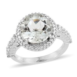 Green Amethyst (Rnd 3.25 Ct), Simulated Diamond Ring in Silver Bond 4.000 Ct