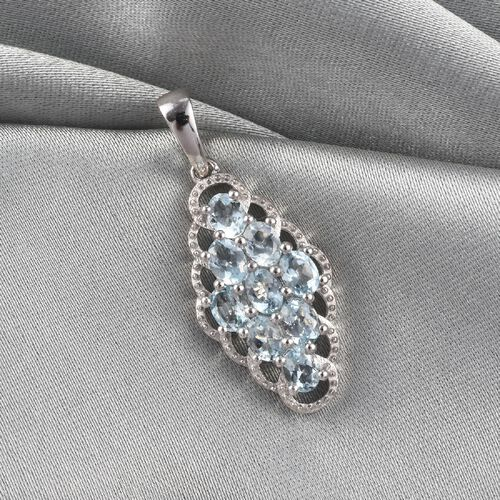 Santa Teresa Aquamarine Pendant in Platinum Overlay Sterling Silver 1.35 Ct.