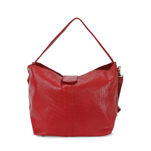 100% Genuine Leather Hobo Shoulder Bag with Detachable Strap(Size 42x25x18 Cm) - Red