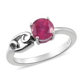 African Ruby Ring in Platinum Overlay Sterling Silver 1.15 Ct.